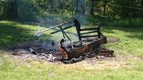 Pila de la quemadura fotos de archivo libres de regalías