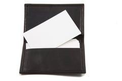 Pila de la tarjeta en blanco blanca en portatarjetas Fotografía de archivo libre de regalías