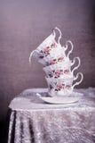 Pila de la taza de té Imagen de archivo libre de regalías