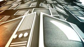 Pila de la televisión del vintage. metrajes