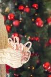 Pila de la tenencia de la muchacha de bastones de caramelo de hierbabuena Día de fiesta de la Navidad Fotografía de archivo libre de regalías