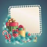 Pila de las cajas de regalo de la Navidad, tarjeta de felicitación Fotografía de archivo libre de regalías