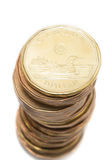 Pila de las monedas del dólar Imagen de archivo libre de regalías