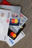 Pila de las tarjetas de banco foto de archivo libre de regalías