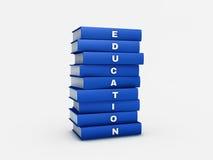 Pila de libro azul de la educación aislado en blanco con la palmadita del recortes Imagen de archivo