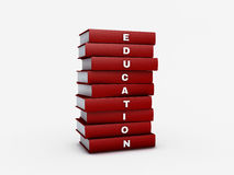 Pila de libro rojo de la educación con la trayectoria de recortes Fotos de archivo libres de regalías