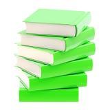 Pila de libros brillantes verdes aislados Imagen de archivo libre de regalías