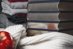 Pila de libros con el borde brillante y la manzana roja Imágenes de archivo libres de regalías