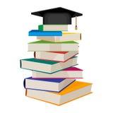 Pila de libros con el sombrero académico cuadrado en el ejemplo superior del vector stock de ilustración