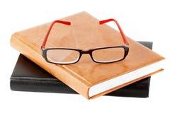 Pila de libros con la lente Foto de archivo libre de regalías