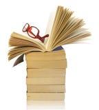 Pila de libros con las lentes Fotos de archivo