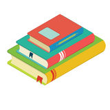 Pila de libros con las señales, tres libros, diseño plano Imagenes de archivo