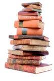Pila de libros de cuero antiguos Foto de archivo