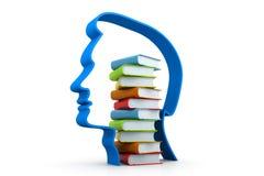 Pila de libros en cabeza humana Imagen de archivo libre de regalías