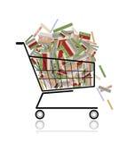 Pila de libros en el carro de compras para su diseño Imagen de archivo