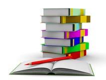 Pila de libros en el fondo blanco Imágenes de archivo libres de regalías