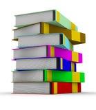 Pila de libros en el fondo blanco Fotografía de archivo