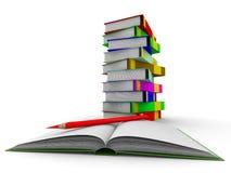 Pila de libros en el fondo blanco Imagenes de archivo