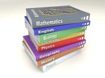 Pila de libros inglesa de escuela stock de ilustración