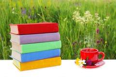 Pila de libros multicolores en la tabla y una taza roja de té caliente en un platillo en el fondo de la naturaleza hermosa Fotografía de archivo