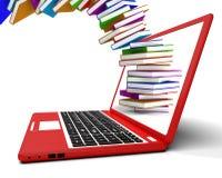 Pila de libros que vuelan del ordenador Imagen de archivo libre de regalías