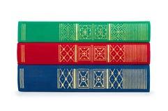 Pila de libros rojos, verdes y azules del vintage Imagen de archivo libre de regalías