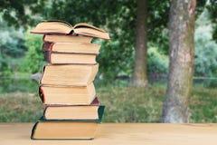 pila de libros sobre el fondo natural imágenes de archivo libres de regalías