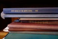 Pila de libros tempranos del censo de Estados Unidos Fotografía de archivo