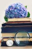 Pila de libros viejos con las flores y el espejo imagen de archivo libre de regalías