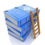 Pila de libros y de escalera Imagen de archivo libre de regalías