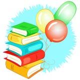 Pila de libros y de globos Fotos de archivo