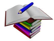 Pila de libros y de lápiz. Fotografía de archivo libre de regalías