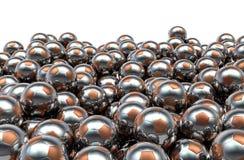 Pila de los balones de fútbol del metal Imagen de archivo libre de regalías