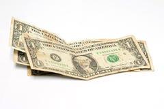 Pila de los billetes de dólar uno en el fondo blanco Imagen de archivo