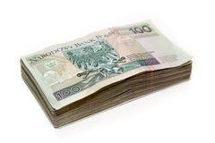 Pila de los billetes de banco polacos - 100 PLN Fotografía de archivo