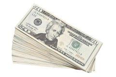 Pila de los E.E.U.U. dinero en circulación de veinte cuentas de dólar Foto de archivo libre de regalías