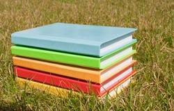 Pila de los libros en la hierba Imágenes de archivo libres de regalías
