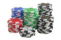 Pila de los símbolos del casino, representación 3D Fotos de archivo libres de regalías