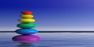 pila de los ZENES Stone del arco iris de la representación 3d Fotografía de archivo