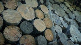 Pila de madera en invierno con caer de la nieve