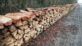 Pila de madera en madera Imagenes de archivo