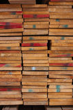 Pila de madera mantenida la acción para la venta Imágenes de archivo libres de regalías