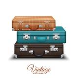 Pila de maletas viejas del vintage Foto de archivo