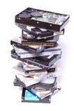 Pila de mecanismos impulsores duros del ordenador Foto de archivo libre de regalías