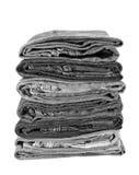 Pila de mezclilla negra del dril de algodón Foto de archivo libre de regalías