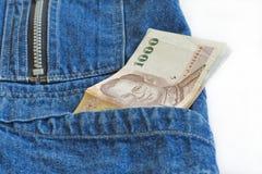 Pila de mil tipos tailandés billetes de banco Imagen de archivo libre de regalías