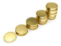 Pila de moneda de oro como escaleras Imagenes de archivo