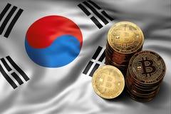 Pila de monedas de Bitcoin en bandera surcoreana Situación de Bitcoin y de otros cryptocurrencies en Corea del Sur stock de ilustración