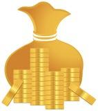 Pila de monedas de oro Imagen de archivo libre de regalías