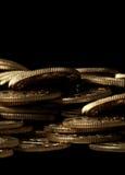 Pila de monedas de oro Imágenes de archivo libres de regalías